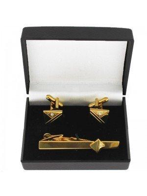 Gents Gold Tie Clip & Cufflinks Set With Diamond
