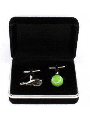 Gents Silver Cufflinks - Green Tennis Ball & Racket Design
