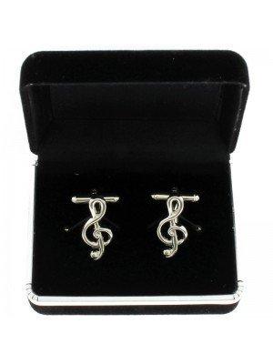 Gents Silver Cufflinks - Treble Clef Design