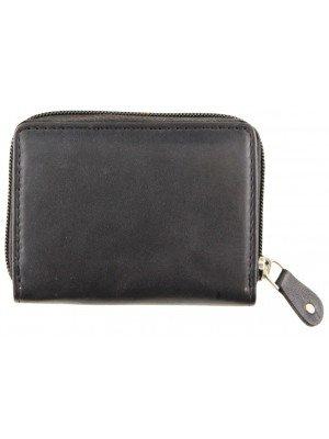 Genuine Leather Coin & Card Holder - Black