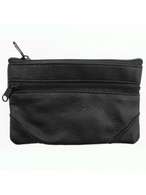 Genuine Leather 2 Compartments Coin Purse - Black