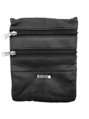 Genuine Leather Zipped Shoulder Bag - Black