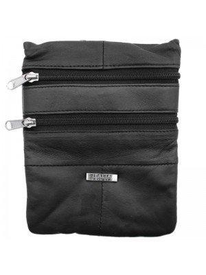 Genuine Leather Zipped Shoulder Bag - Black