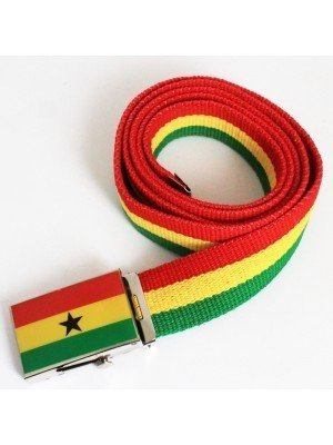 Men's Canvas Belt - Ghana Flag
