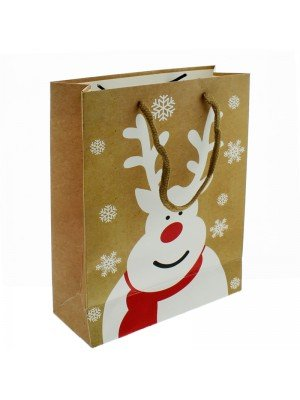Gift Bag White Reindeer Design Medium (18x 22x 7cm)
