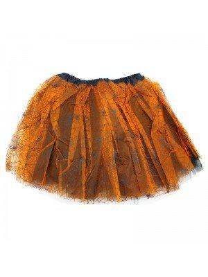 Ginger Brown Tutu With Black Spider Web Design