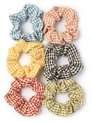 Gingham Design Fabric Scrunchies 10cm - Assorted Colours