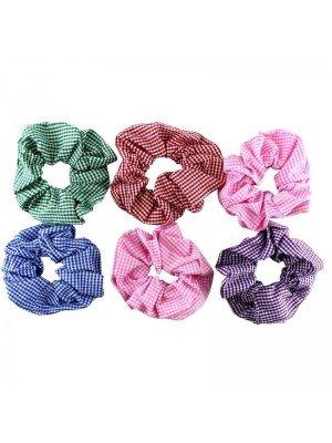 Wholesale Cotton Fabric Gingham Print Scrunchies - Assorted Colours