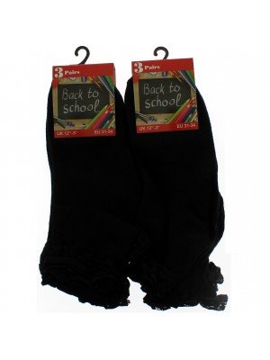 Girl's Back To School Frilled Socks (12.5-3.5) - Black