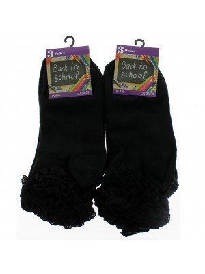 Girl's Back To School Frilled Socks (4-6) - Black