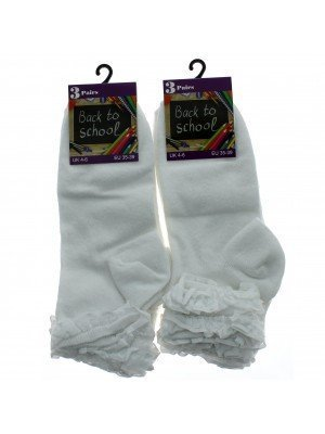 Girl's Back To School Frilled Socks (4-6) - White