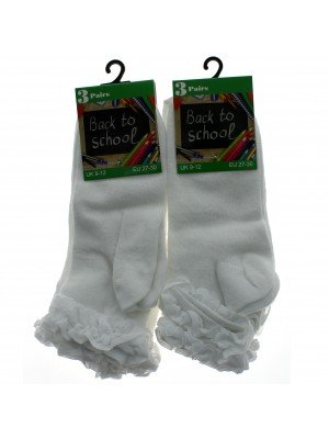 Girl's Back To School Frilled Socks (9-12) - White
