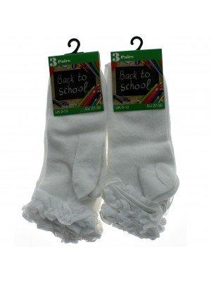 Girl's Back To School Frilled Socks (9-12) - White