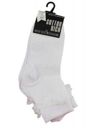 Wholesale Girl's School Frilled Socks (12.5-3.5) - White
