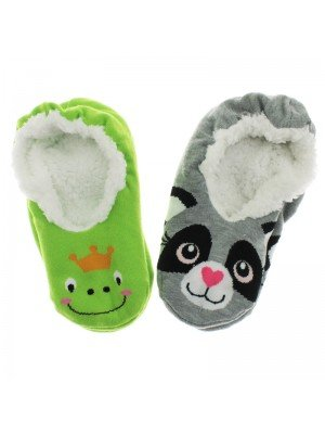 Girl's Animal Slippers With Grips - Assorted Colours & Sizes
