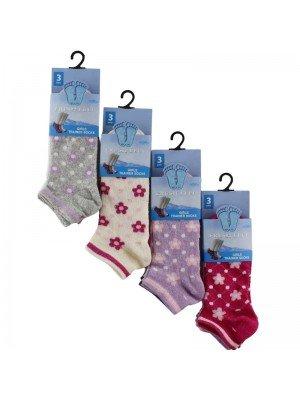 Wholesale Girls Floral Design Trainer Socks - Fresh Feel (3 Pair Pack) - Asst. (Size 12-3)