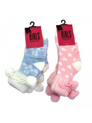 Girls Slipper Socks - Assorted Colours UK 9-12 and 12.5-3.5
