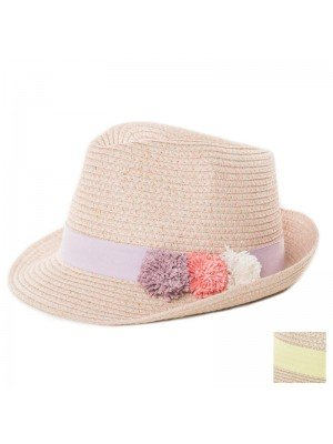 Girls Straw Trilby With Coloured Band and Pom Poms Assortment
