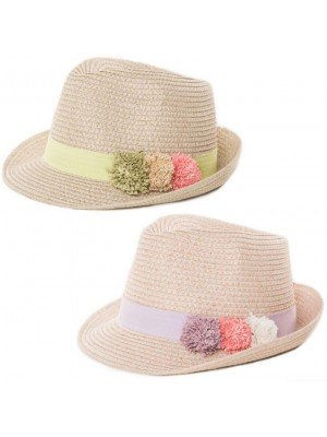 Wholesale Girls Straw Trilby With Coloured Band and Pom Poms Assortment