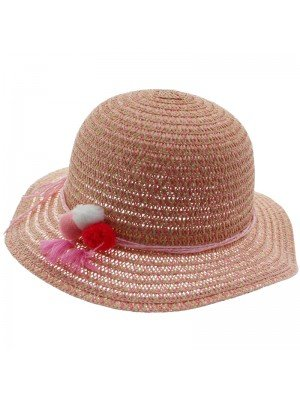 Girls Wide Brim Straw Hat With Pom Pom Band - Assorted Colours