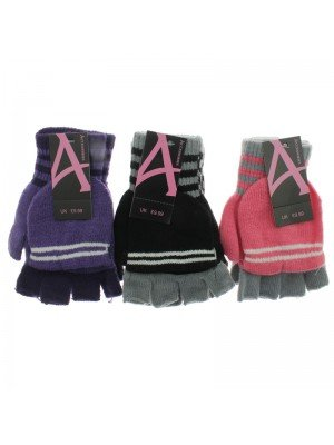Girls Striped Capped Gloves - Assorted Colours