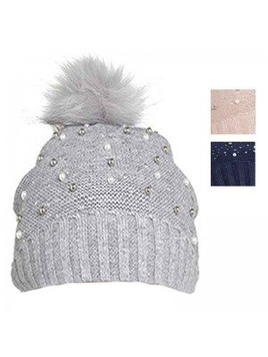 Wholesale Ladies Bobble Hat with Embellishment - Assorted