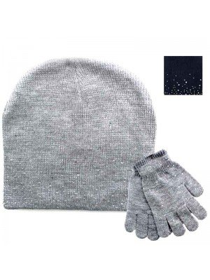 Wholesale Ladies Hat & Glove Set With Diamantes - Assorted