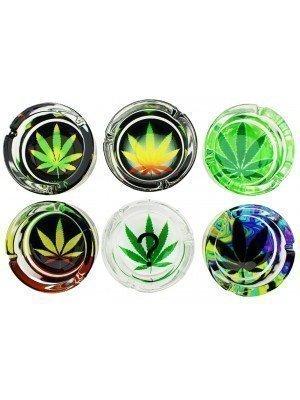 Sparkys Glass Ashtray - Leaf Design (Assorted)