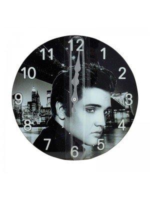 Glass Elvis Wall Clock - 30cm