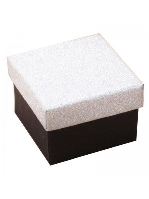 Black Square Gift Box With Silver Glitter Lid 5x5x3.5cm