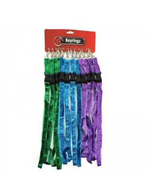 Glitter Lanyard Keyrings - Assorted Colours