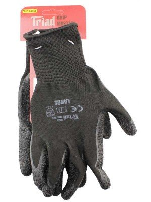 Wholesale Black Latex Coated Gloves - Large