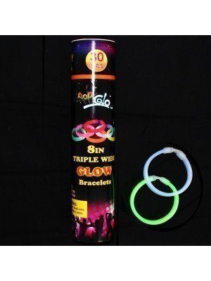 Glow In The Dark  8 in Triple Wide Colourful Bracelets - Assorted