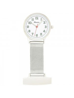 Glow in The Dark Ravel Nurses Fob Watch - Silver & White