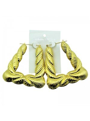 Gold Bamboo Hoop Earrings - 8cm