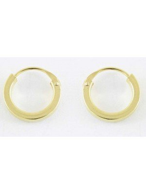 Gold Square Cut Hoop Earrings - 8mm