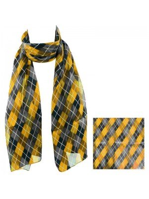 Wholesale Ladies Satin Scarf - Romb Pattern (Gold/Grey)