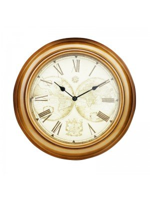Gold Case World Map Wall Clock - 30cm