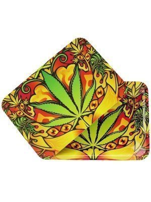 Wholesale Green Leaf Metal Rolling Tray With Magnetic Lid - Mini (18 x 12.5 cm)
