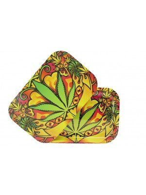 Wholesale Green Leaf Metal Rolling Tray With Magnetic Lid (28.8 x 18.8 cm)