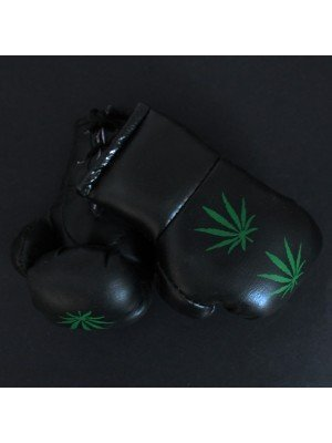 Mini Boxing Gloves - Green Leaf On Black