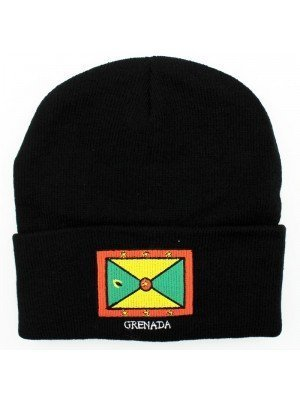 Black Turn up Beanie Hat - Grenada Flag Embroidered
