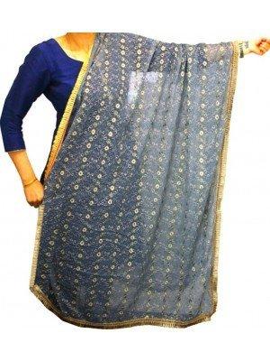 Wholesale Ladies Gota Patti Embroidery Ethnic Dupatta - Grey