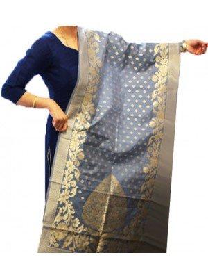 Wholesale Ladies Banarasi Brocket Silk Ethnic Dupatta - Grey