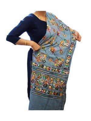 Wholesale Ladies Pure Cotton Aari Embroidery & Foil Mirrors Dupatta - Grey