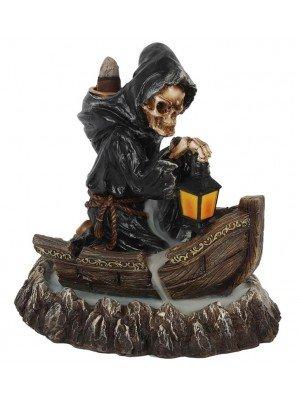 Grim Reaper Boat Backflow Incense Burner - 17cm