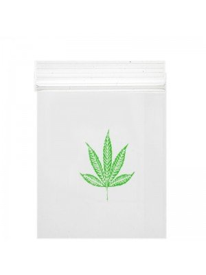 Grip Seal Clear Baggies Single Leaf Print (40mm x60mm)