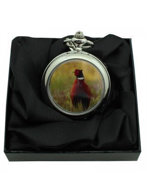 Grouse Bird Pocket Watch with Chain - Silver