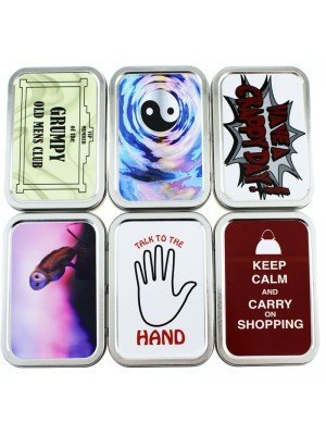 Wholesale Metal Tins With Rubber Seal Silver - Assorted Designs (2 Oz)