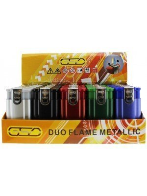 Wholesale GSD Double Flame Metallic Refillable Lighters - Assorted Colours